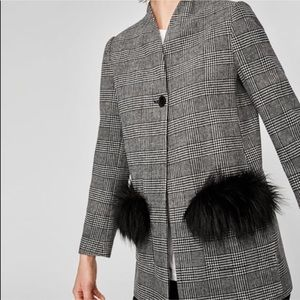 Zara Plaid Blazer Jacket Fur Trim Pockets Black S